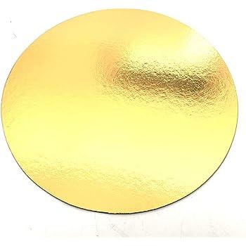 Juego de 10 soportes para pasteles en cajas de colores, con Tallas de su elección (Negro / Dorado 24 cm)