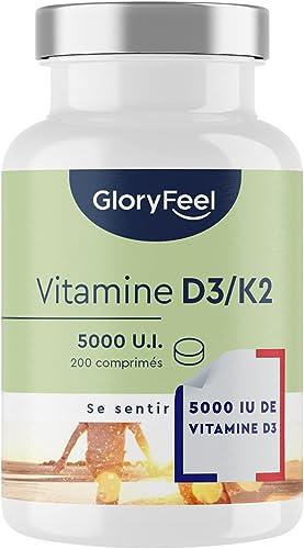 Vitamine D3 + K2 Depot - 200 comprimés (7 Mois) - 5.000 UI de Vitamine D3 et 200 µg de vitamine K par comprimé - Comp...
