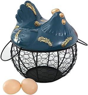MNSSRN Fer Forgé Egg Panier de Rangement, Campagnard Fer Creative Accueil Cuisine Mêle tri Panier Mode Ornements décoratif...