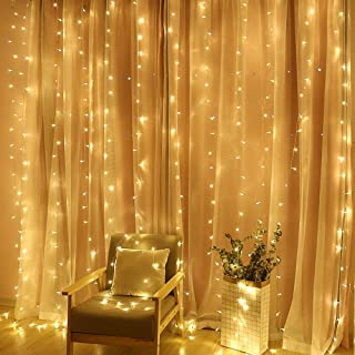 TOFU 300 LED Window Curtain String Light, Twinkle Icicle Fairy Lights for Wedding, Homes, Party, Bedroom, Outdoor Indoor Wall Christmas Decorations, 9.8ft x 9.8ft (Warm White)