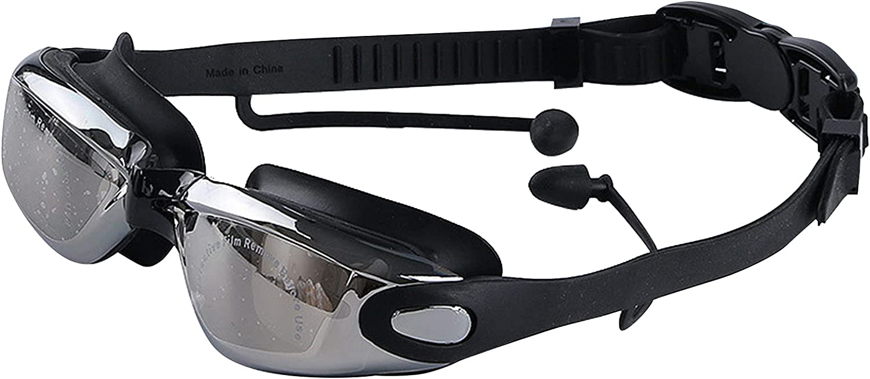 Hwtcjx Gafas de Natación, gafas piscina, 1 gafas buceo, Lente de PC, antivaho de alta definición, bloqueo de rayos UV, con tapones para los oídos impermeables, ajustable, para adultos, niños (negro)