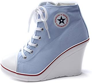 Epicsnob Womens Shoes Canvas High Top Lace Up Wedge Synthetic Fashion Sneakers