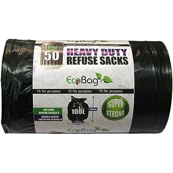 Eco Bag 50 Heavy Duty Refuse Sacks, Black, 1x