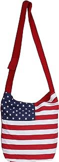 Cute American Flag Canvas Sling Bag-Cum-Jhola Bag - Stars & Stripes Hobo Style (Made in India)
