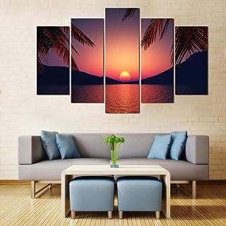 WENS Velvet Laminated Divine Nature Beauty 5 Panels Framed Wall Art (24x40 Inch)