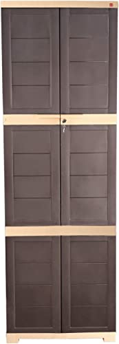 CelloNoveltyLarge Plastic Cupboard with Lock(Brown and Beige)