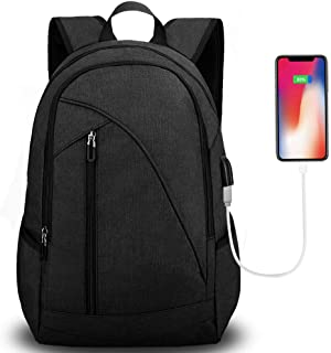 Tocode Unisex Laptop Backpack for School & Travel, Fits 17'' Computer Durable Casual Anti Theft Backpack Travel Bag, with USB Charging Port and Headphone Jack, Waterproof Large Compartment Daypacks