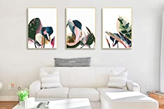 ArtbyHannah 3 Pack 20x28 Inch Framed Canvas Wall Art Decor with Tropical Botanical Plant Prints Watercolored Canvas Prints...