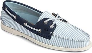 Sperry Women's A/O 2-Eye Seersucker Stripe Textile Boat Shoe, Blue, 7 M US