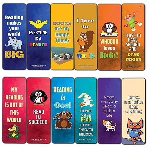 Creanoso Inspiring Bookmarks for Kids (12-Pack) - Animal Theme Reading Bookmarker Cards - Stocking Stuffers Gift for Kids, Children, Boys & Girls – Teacher and Classroom Rewards – School Gifts Set