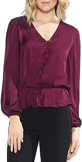 Vince Camuto Women's Long Sleeve Peplum Hem Button Down Blouse