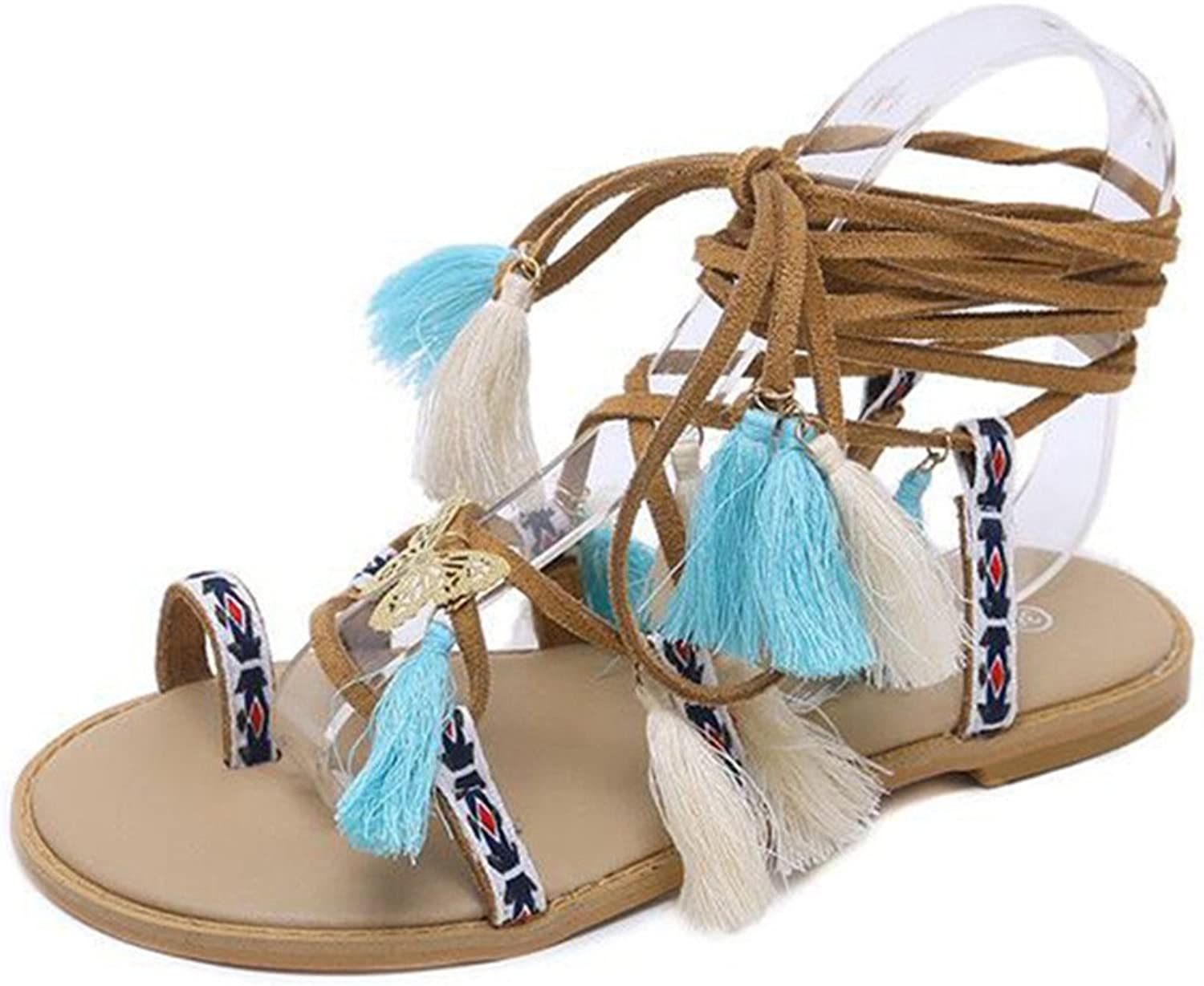 Giles Jones Flat Sandals for Women,Bohemia Tassel Lace Up Ring Toe Flip Flops Beach shoes