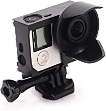 Nechkitter Anti-Exposure Frame with Lens Hood for GoPro Hero4 Hero3 3+, Black Frame Mount Housing with Quick Release Buckle and Thumbscrew (Black)