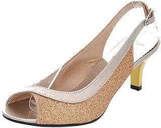 TAOFFEN Women Fashion Kitten Heel Party Glitter Sandals Mid Heel Peep Toe Slingback Shoes