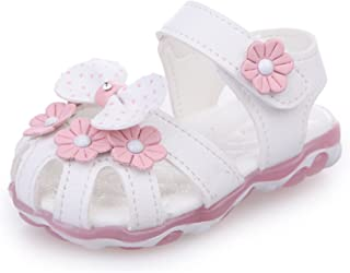 [ZKKK] ベビーサンダル かわいい 光る靴 ガルーズサンダル プリンセスシューズ ファーストシューズ 乳児靴 包まれたデザイン 穴 シンプル ソフト 柔軟底 ガールズ夏靴 通気性よい 滑り止め 花柄 マジックテープ
