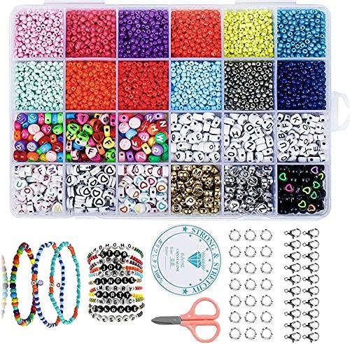 Abalorios para Hacer Pulsera, 12000 PCS Mini Cuentas de Cristal Colores+720 PCS Cuentas del Alfabeto para DIY Pulseras Collares Bisutería Joyería-Making (2mm,24 Colores)