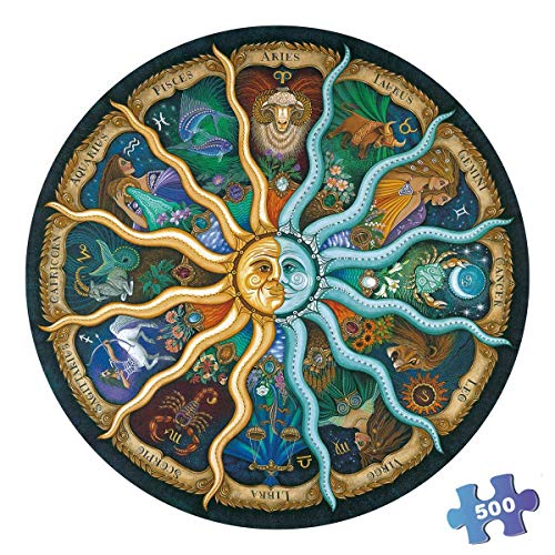 500 Pieces Puzzles for Adults Round Jigsaw Puzzles Zodiac Floor Puzzle Kids DIY Toys for Creative Gift Home Decor - Twelve Constellations