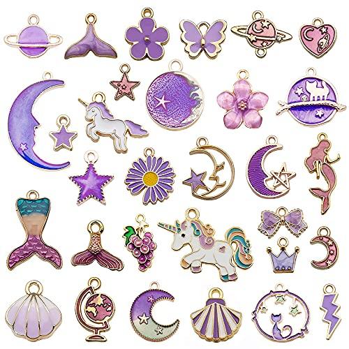 NOTIONSLANND Charms para hacer joyas, 31 piezas de aleación de esmalte, colgantes para joyas, pulseras, collares y manualidades