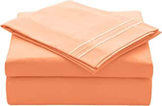 VEEYOO Bed Sheets Set Twin Size, Extra Soft 1800 Brushed Microfiber Sheets Set, Wrinkle Fade Stain Resistant Deep Pocket, Luxury Comfortable Breathable 3 Piece Bedding Sheets, Persimmon