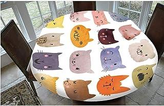 Housse de table en polyester avec bords élastiques, motif têtes de chat mignonnes et colorées, pour enfants, compatible av...
