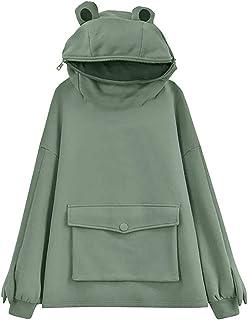 Womens Cute Frog Hoodie Novelty Oversized Loose Pullover Zip up Hooded Top Sweatshirt with Pocket