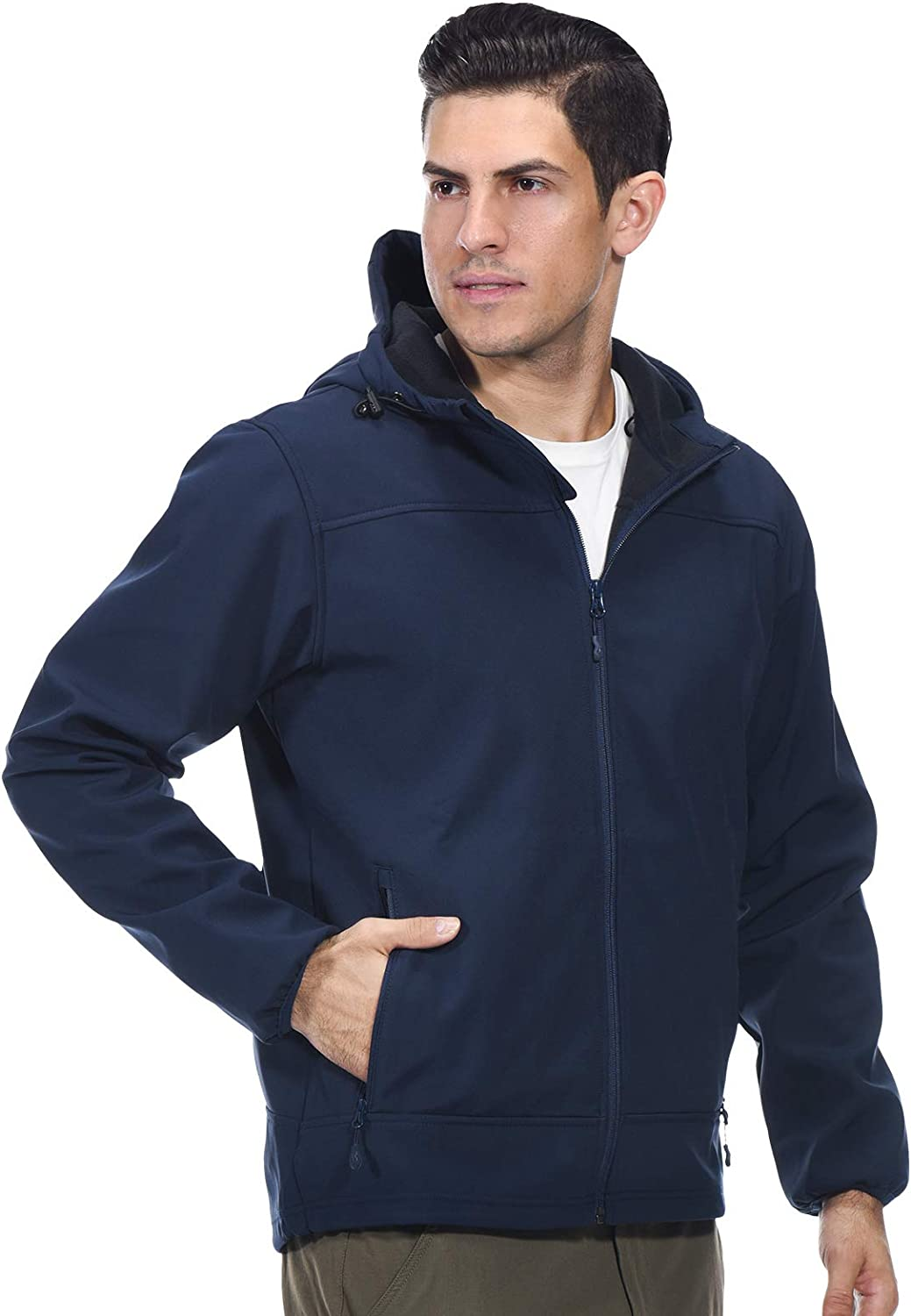 MIER Men's Softshell Jacket Fleece Lined Outdoor Hiking Hooded Full Zip, Water Resistant and Windproof
