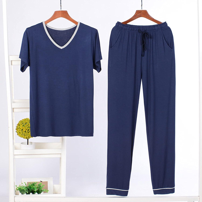 CAICAIL Men's Pajamas Sets Modal Men's Pajamas Pajamas Set of 2 Short-Sleeved Top with Long Pants