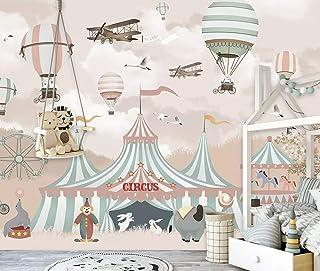 Duvarkapla Karikatür Sıcak Hava Balon Sirk Atlıkarınca Duvar Resimleri için Çocuk Yatak Odası 3 Boyutlu Duvar Kağıdı Bebek...