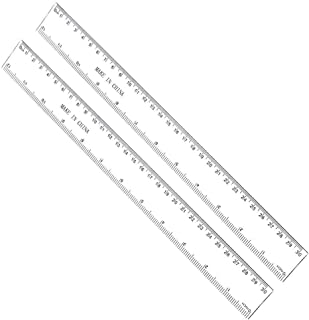 12 Inches Plastic Straight Hard Ruler Viaky See Through Flexible Ruler with Inches and Metric Measuring Tool for Student School Office, Clear(2 Pack) …