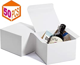 MESHA Gift Boxes 6x6x4in Gift Boxes for Bridesmaids Paper Boxes with Lids for Crafting, Cupcake Boxes (White-50Pcs)