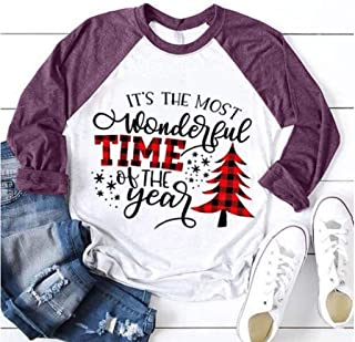 Women Christmas T-shirt Tops, Ladies Xmas Tree Letter Printed Long Sleeve Pullover Tops