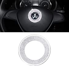 CARFIB Car Interior Bling Accessories for VW Volkswagen Atlas Jetta Passat Tiguan Beetle Steering Wheel Emblem Logo Ring D...