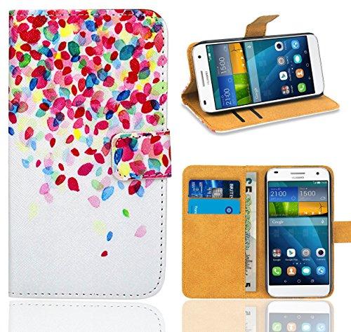 Huawei Ascend G7 Handy Tasche, FoneExpert® Wallet Hülle Flip Cover Hüllen Etui Ledertasche Lederhülle Premium Schutzhülle für Huawei Ascend G7 (Pattern 1)