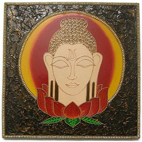 EthnicAvenue - Pintura de pared con arcilla de relieve, diseño de Buda, decoración de pared