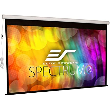 Elite Screens Spectrum2, 120-inch 16:9, 12-inch Drop, Electric Motorized Drop Down Projection Projector Screen, SPM120H-E12, maxwhite fg / white housing