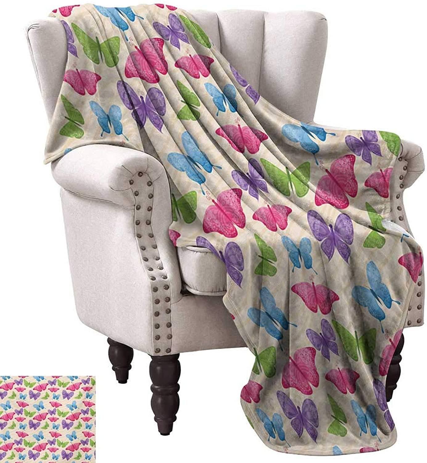 Anyangeight Warm Microfiber All Season Blanket,Cute colorful Butterflies in Vibrant Tones Mothes Spiritual Wings Kids Girls Design 60 x50 ,Super Soft and Comfortable,Suitable for Sofas,Chairs,beds
