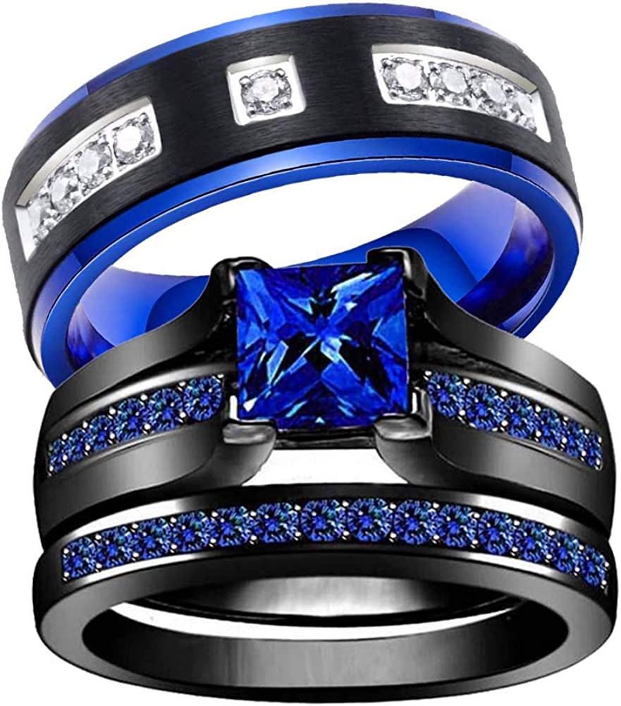 wedding Shipping included ring set Two Inexpensive Rings Black His Women's Hers Couples