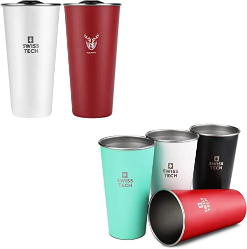 high quality SWISS+TECH 16oz Stainless Steel Cups, 2 Pack Double Wall Pint Cup discount Glasses and Swiss+Tech 20 online sale oz Stainless Steel Cups, 4 Pack Stackable Pint Cup sale