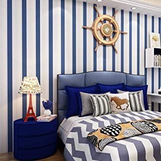 Blue and White Vertical Stripes Wallpaper,Removable,Bedroom Living Room Kitchen Background No.68160