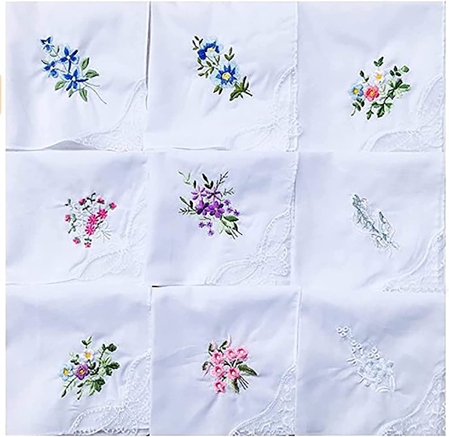 Emivery 9Pcs Ladies Flower Embroidered Handkerchief Cotton Lace Square Towel for Women Girls Random Color