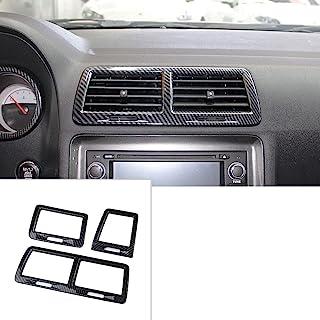 Korlot Carbon Fiber Air Vent Cover AC Outlet Trim kit for 2008-2014 Dodge Challenger