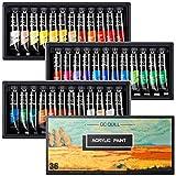 GC QUILL Pintura Acrílica, 36 Colores Pintura Acrilica Manualidades para Lienzos, Papel, Madera, Cerámica, Telas y Manualidad