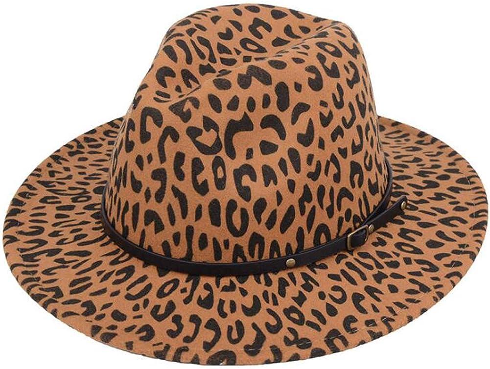 XUMIN 1PCS Womens Wide Brim Leopard Felt Fedora Caps Panama Hat Jazz Hats with Belt Buckle (Khaki)