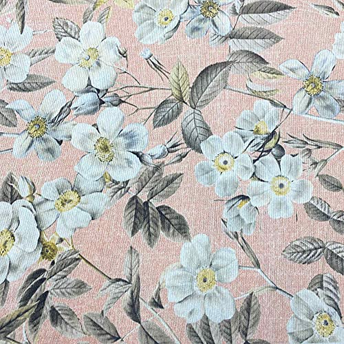 Tela por metros de loneta estampada digital - Ancho 280 cm - Largo a elección de 50 en 50 cm | Flores Leire - Blanco, rosa