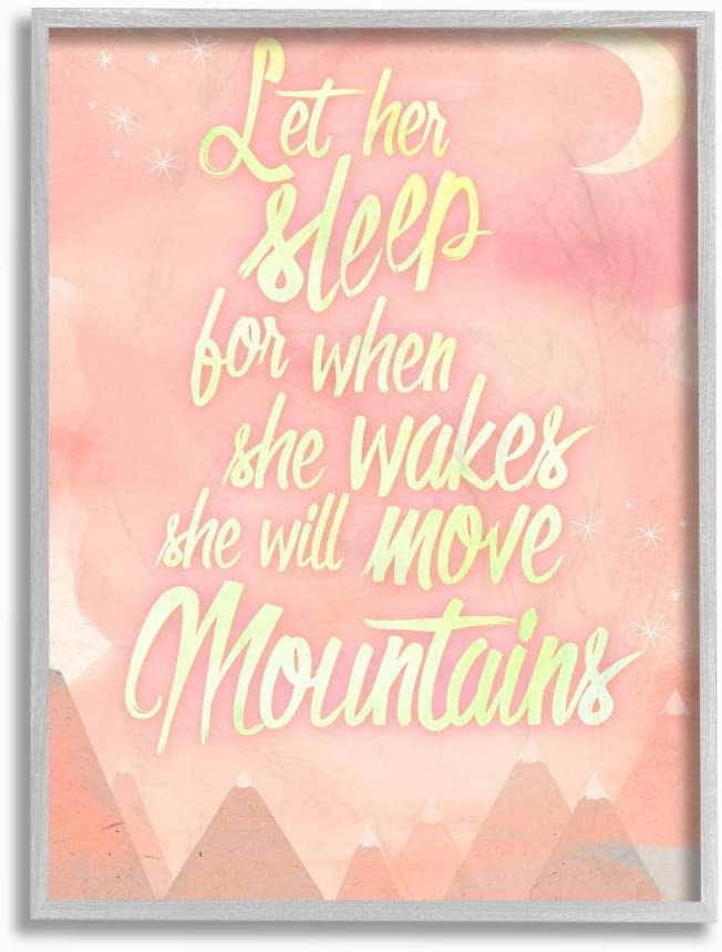 Stupell Industries Let Her Mail order Sleep Grey Popular product Mountains Pink Water Color