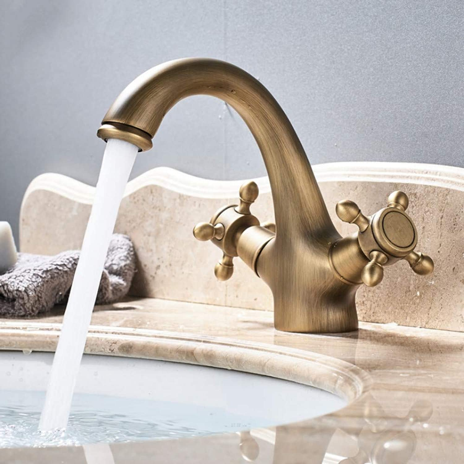 Mzdpp Dual Handle Basin Faucet Single Hole Deck Mounted Brass Bathroom Vanity Sink Mixers Hot and Cold Tap FT-556