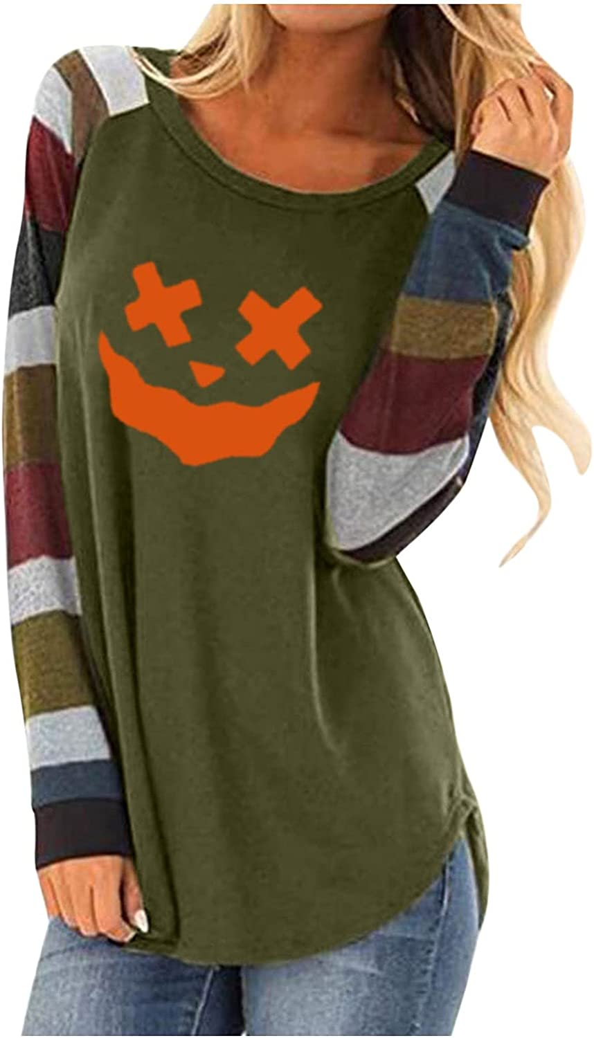 Women's Casual Halloween Print Stitching Stripes Round Neck Long Sleeve Tops