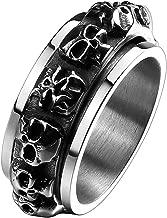 YABINI Men's Fashion Titanium Steel Multiple Skull Head Spinner Ring Vintage Gothic Punk Biker Band,Silver Black