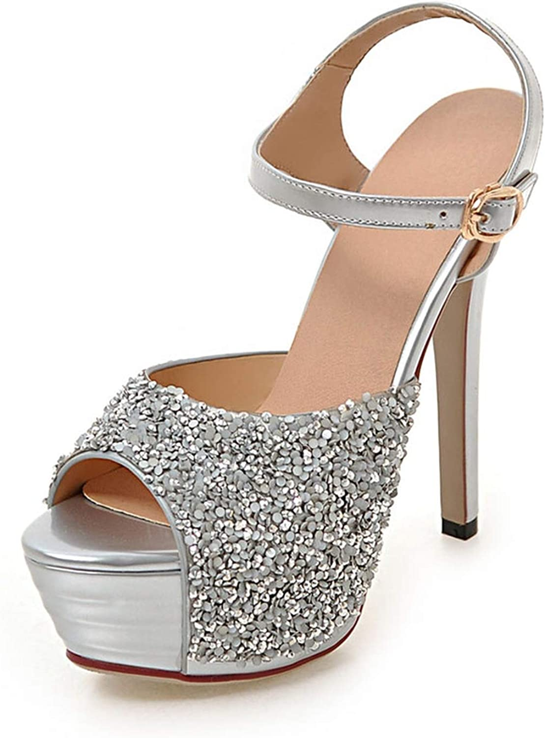 Prom Wedding shoes Lady Platforms Silver Glitter Rhinestone Bridal shoes Ankle Strap Sandals