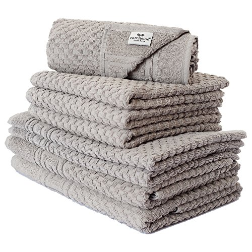 Carenesse Handtuch-Set 8 TLG, Waffelmuster Taupe grau, 2X Duschtuch 4X Handtuch 2X Badvorleger, Premium Qualität, Saugstark & Strapazierfähig, 100% Baumwolle, Badetuch, Duschhandtuch, Frottierwäsche